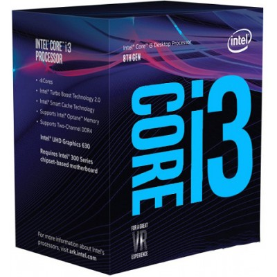 CPU Intel Core i3-8100 (3.6Ghz/ 6MB/ 4C4T/ 1151v2-CoffeeLake)